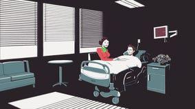 Lebhafte Karikatur mit einem sterbenden Mann, der auf einem Bett im Krankenhaus liegen und eine Frau, die dazu sitzt Halt des Her stockbild