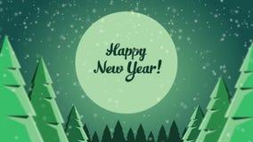 Lebhafte Postkarten-neues Jahr im Wald stock video