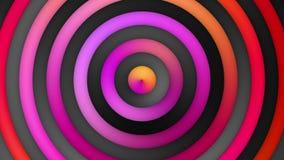 Lebhafte rosa orange Rot-Mehrfarbensteigung streift und kreist Schleife ein stock video footage