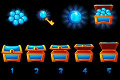 Lebhafte Schatztruhe mit blauem kostbarem Edelstein Schrittweiser, voller und leerer, offener und geschlossener Kasten Ikonen auf lizenzfreie abbildung