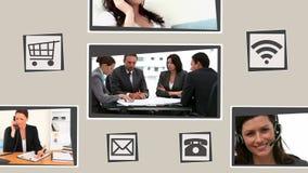 Lebhafte Schnittstelle über Kommunikation stock video footage