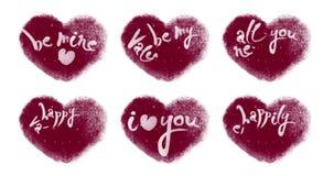 Lebhafte Snowy-Herzen eingestellt mit dem Valentinsgruß-Beschriften stock footage