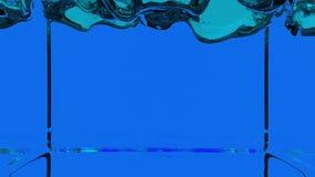 Lebhafte transparente blaue Farbe, die herauf ganzen Schirm gießt und füllt Alphakanal ist enthaltener Gebrauch luma Lech 3d über vektor abbildung