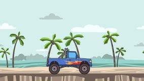 Lebhafter Monstertruck des großen Rades auf dem Strand Bewegender Bigfoot-LKW auf Meerblick Flache Animation lizenzfreie abbildung