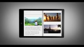 Lebhafter Reisekatalog auf digitaler Tablette stock video
