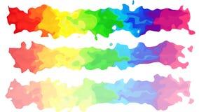 Lebhaftes beflecktes nahtloses Schleifenvideo des Hintergrundes - Aquarell Splotcheffekt - farbenreiches Spektrum des Regenbogens lizenzfreie abbildung