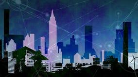 Lebhaftes städtisches Stadtskylinevideo stock abbildung