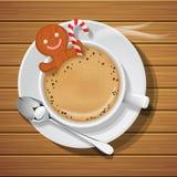 Lebkuchen in der Schale heißem coffeee mit Zuckerrohr Lizenzfreies Stockfoto