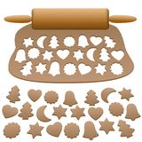 Lebkuchen Dough Cut Out Gingerbread Cookies. Lebkuchen dough with wooden rolling pin and cut out gingerbread cookies - isolated vector illustration on white Stock Photography
