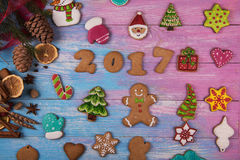 Lebkuchen für neue 2017 Jahre Stockfoto