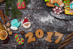 Lebkuchen für neue 2017 Jahre Lizenzfreies Stockbild