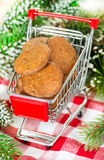 Lebkuchen gingerbread cookies in shopping basket Royalty Free Stock Photography