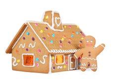 Lebkuchen-Haus mit dem Lebkuchen-Mann, getrennt Stockbilder