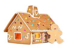 Lebkuchen-Haus mit dem Lebkuchen-Mann, getrennt Stockfotografie