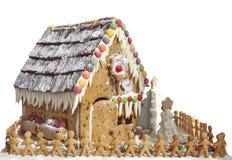 Lebkuchen-Haus mit Lebkuchen-Männern Lizenzfreie Stockbilder