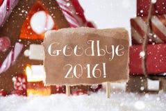 Lebkuchen-Haus mit Schlitten, Schneeflocken, Text Auf Wiedersehen 2016 Stockfotos