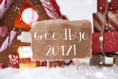 Lebkuchen-Haus mit Schlitten, Schneeflocken, Text Auf Wiedersehen 2017 Stockbild