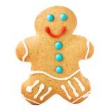 Lebkuchen-Mann-Weihnachtsplätzchen lokalisiert auf weißem Hintergrund, c Lizenzfreie Stockfotografie