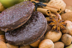 Lebkuchen and Nuts Stock Photo