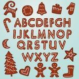 Lebkuchen-Plätzchen Alphabet und Zahlen stockbild