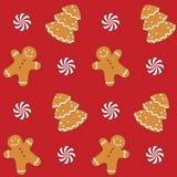 Lebkuchen-Plätzchen-nahtloses Muster Lizenzfreie Stockbilder