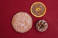 Lebkuchen on a ruby cloth Royalty Free Stock Images