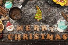Lebkuchen und Kaffee für neue Jahre oder Weihnachten Stockfotografie
