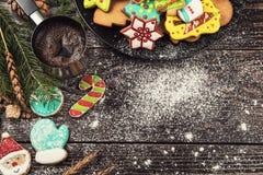 Lebkuchen und Kaffee für neue Jahre oder Weihnachten Stockbilder