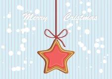 Lebkuchen verzierte farbige Zuckerglasur Flaumiger Schnee Qualitative Vektorillustration für neues Jahr ` s Tag, Weihnachten, Win Stockbilder