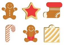 Lebkuchen verzierte farbige Zuckerglasur Qualitative Vektorillustration für neues Jahr ` s Tag, Weihnachten, Winterurlaub Lizenzfreies Stockfoto