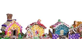 Lebkuchenhäuser - getrennt auf Weiß Lizenzfreie Stockfotos