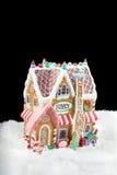 Lebkuchenhaus auf Schwarzem Lizenzfreies Stockbild