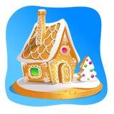 Lebkuchenhaus verzierte Süßigkeitszuckerglasur und -zucker Weihnachtsplätzchen, selbst gemachtes gebackenes süßes Lebensmittel VE Stockbild