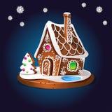 Lebkuchenhaus verzierte Süßigkeitszuckerglasur und -zucker Weihnachtsplätzchen, selbst gemachtes gebackenes süßes Lebensmittel VE Lizenzfreie Stockfotos