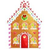 Lebkuchenhaus verzierte Süßigkeitszuckerglasur und -zucker Weihnachtsplätzchen, traditionelles Winterurlaubweihnachtsselbst gemac Lizenzfreie Stockfotos