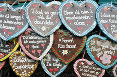 Lebkuchenherzen Gingerbread hearts. Gingerbread Hearts at a fair in Germanany, texts saying things like 'I love you', 'Sweethart', etc Stock Image