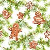Lebkuchenmann, Plätzchen und Tannenbaumaste Nahtloses Muster für Weihnachtsauslegung watercolor vektor abbildung