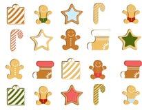 Lebkuchenmann verzierte farbige Zuckerglasur Qualitative Vektorillustration für neues Jahr ` s Tag, Weihnachten, Winterurlaub Lizenzfreies Stockbild