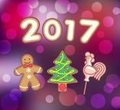 Lebkuchenmann, Weihnachtsbaum und Hahn-Lutscher Lizenzfreies Stockfoto