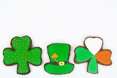 Lebkuchenplätzchen mit Bild für St- Patrick` s Tag Lizenzfreies Stockbild