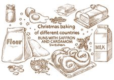 Lebkuchenplätzchen und aromatische Gewürze bestandteile Brötchen mit Safran und Kardamom Swe stockbilder