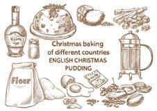 Lebkuchenplätzchen und aromatische Gewürze bestandteile Englischer Weihnachtspudding england lizenzfreie stockbilder