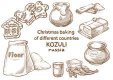Lebkuchenplätzchen und aromatische Gewürze bestandteile Kozuli russisch stockfotos