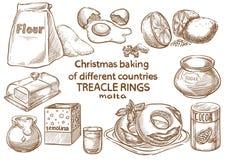 Lebkuchenplätzchen und aromatische Gewürze bestandteile Trecle-Ringe malta lizenzfreies stockbild