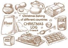 Lebkuchenplätzchen und aromatische Gewürze bestandteile Weihnachtsklotz Frace stockbilder