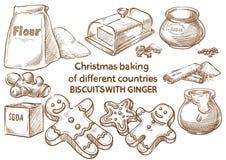 Lebkuchenplätzchen und aromatische Gewürze Keks mit ginge england stockfotografie