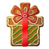 Lebkuchenweihnachtsgeschenk verzierte farbige Zuckerglasur Lizenzfreies Stockbild