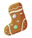Lebkuchenweihnachtsplätzchenstiefel geformt Stockbilder
