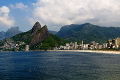 Leblon and the Mountain Dois Irmao in Rio de Janei Royalty Free Stock Images