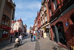 Lebork, cidade da rua velha da cidade do Polônia Foto de Stock